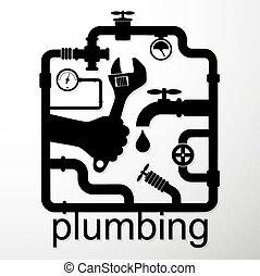 idraulica, riparazione, disegno