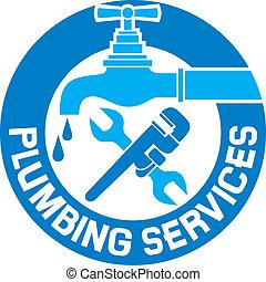 idraulica, riparazione, simbolo