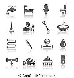 idraulica, set, attrezzi, pictograms