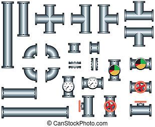 idraulica, tubo, insieme costruzione