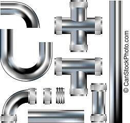 idraulica, vettore, tubi per condutture