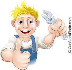 idraulico, cartone animato, meccanico, o
