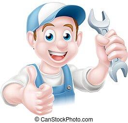 idraulico, cartone animato, meccanico, uomo