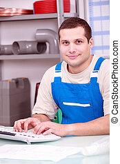 idraulico, computer, giovane, dattilografia
