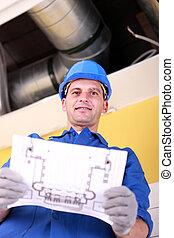 idraulico, con, il, schematics, di, un, aria condizionata,...