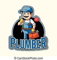 idraulico, disegno, illustrazione