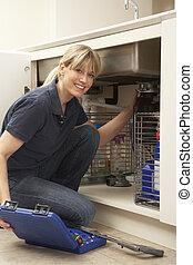 idraulico, dispersore cucina, lavorativo, femmina