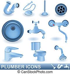 idraulico, icone