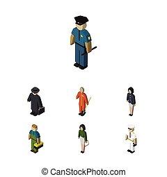 idraulico, isometrico, set, elements., persone, marinaio, objects., lavoratore, include, anche, detective, vettore, marinaio, ragazza, altro