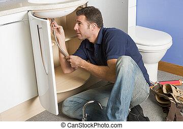 idraulico, lavandino, lavorativo