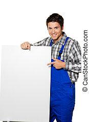 idraulico, lavorante, costruzione, -, artigiani