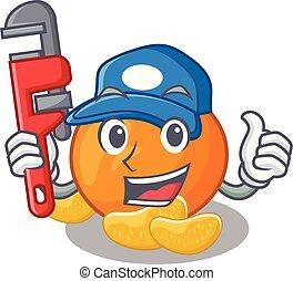 idraulico, mandarino, isolato, cartone animato