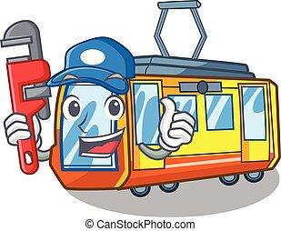 idraulico, miniatura, treno elettrico, in, cartone animato,...