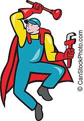 idraulico, strappare, super, tuffatore, cartone animato
