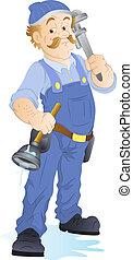idraulico, vettore, carattere