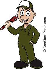 idraulico, vettore, cartone animato, illustrazione