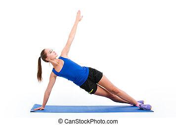 idrottskvinna, yoga, ung, sportwear