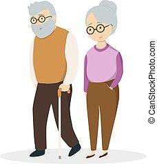 idsolated, äldre, par.