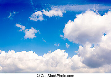 Idylic clouds - Idylic white fluffy clouds over the blue sky