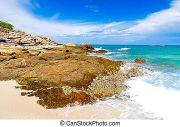 idylický, dějiště, pláž, v, samed, ostrov