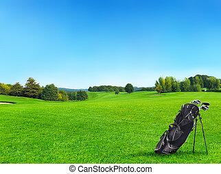 idylický, golfové hřiště, s, les