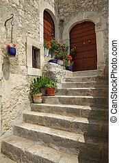 idylický, schod přede dveřmi, do, italský, vesnice, santo,...