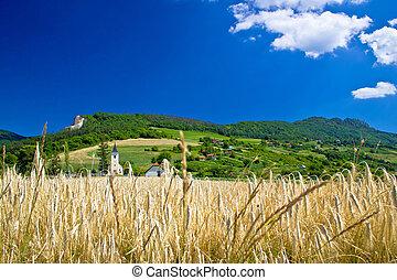 Idyllic agricultural mountain landscape of Croatia, Kalnik...
