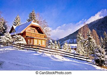 Idyllic Austrian Alps mountain village in snow, Carinthia