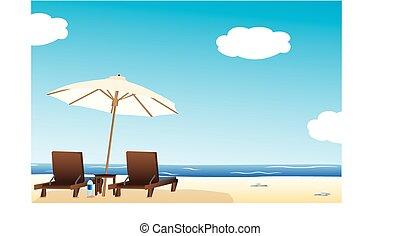Idyllic beach - Vector illustration of sun loungers under...