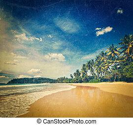 Idyllic beach. Sri Lanka - Vintage retro hipster style ...