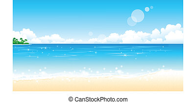 There is a peaceful beach. The sun reflects off the water.