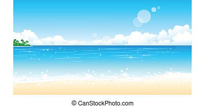 Idyllic Beach - There is a peaceful beach. The sun reflects...