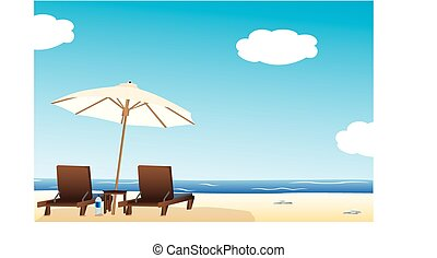Vector illustration of sun loungers under parasol or umbrella on sandy beach with blue sky and cloudscape background.