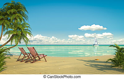 Frontal view of a caribbean beach with deck chairs and boat