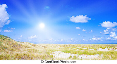 Idyllic dunes with sunlight