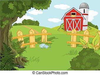 Idyllic farm landscape - Illustration of idyllic rural...