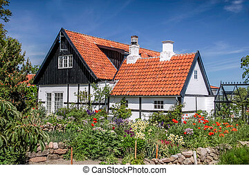 Idyllic half-timbered house in Melsted on Bornholm. Denmark