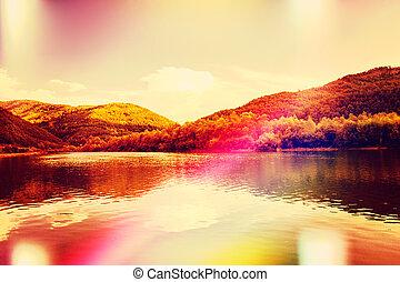 idyllic, lago, paisagem