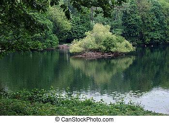 idyllic lake in Duesseldorf