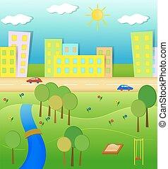 Idyllic landscape illustration