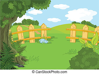 Idyllic landscape - Illustration of rural idyllic landscape