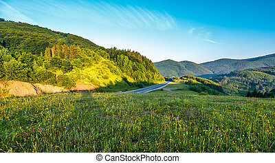 landscape in mountains at sunrise - idyllic landscape in...