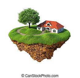 Idyllic life - Little fine island / planet. A piece of land ...