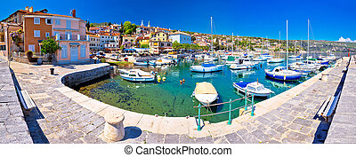 Idyllic mediterranean waterfront in Volosko village panoramic view