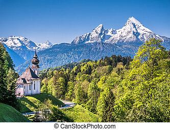Idyllic mountain landscape in the Bavarian Alps, Berchtesgadener Land, Germany