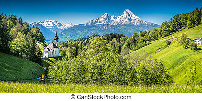 Idyllic mountain landscape in the Bavarian Alps,...