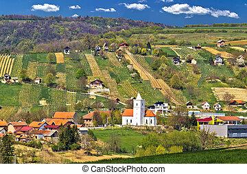 Idyllic nature of Prigorje region, village Visoko on Kalnik...