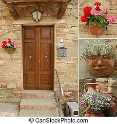 idyllic, porta frente, colagem, itália