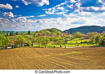 Idyllic Prigorje mountain village of Apatovec, Kalnik...