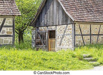 rural scenery with barns